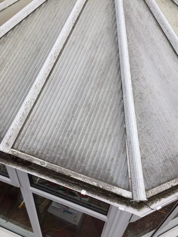 Before - a dirty conservatory roof caked in muck and mould